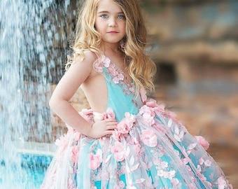 flower girl dress, pink and aqua couture flower girl dress