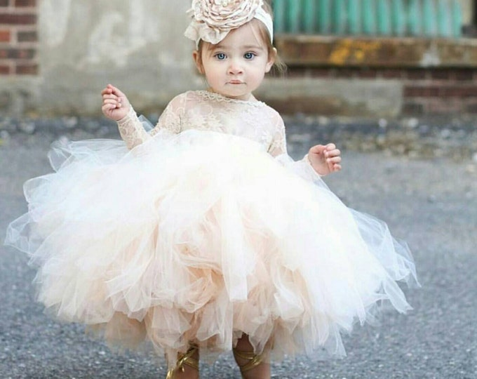 Featured listing image: Shelby Lace flower girl dress, long sleeve lace tutu dres