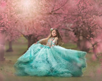Angela, our couture 3d flower mint ruffle gown