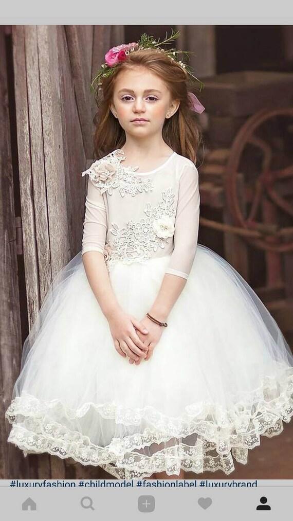871318397 Flower girl dress ivory long sleeve lace tutu dress | Etsy