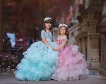 Geneva design, light blue layered ruffle dress