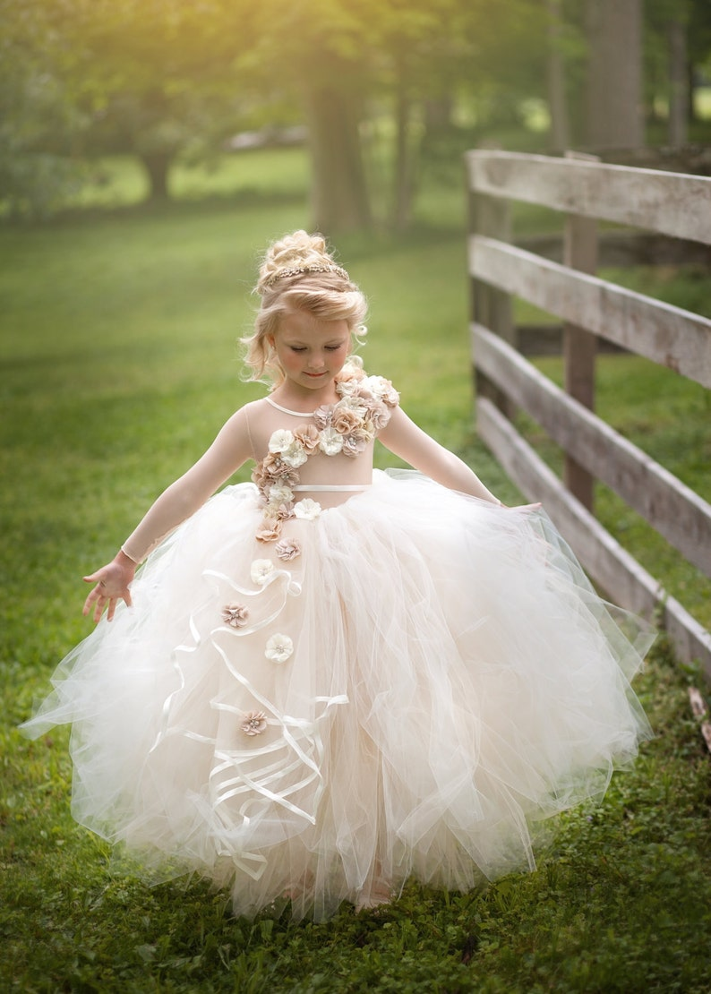 96c2769b576 Flower girl dress ivory and beige couture ling sleeve flower