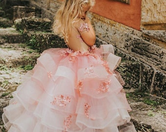 Mary Beth, layered couture ombre pink flower girl dress