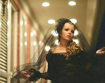 Girls mermaid dress, black lace mermaid dress