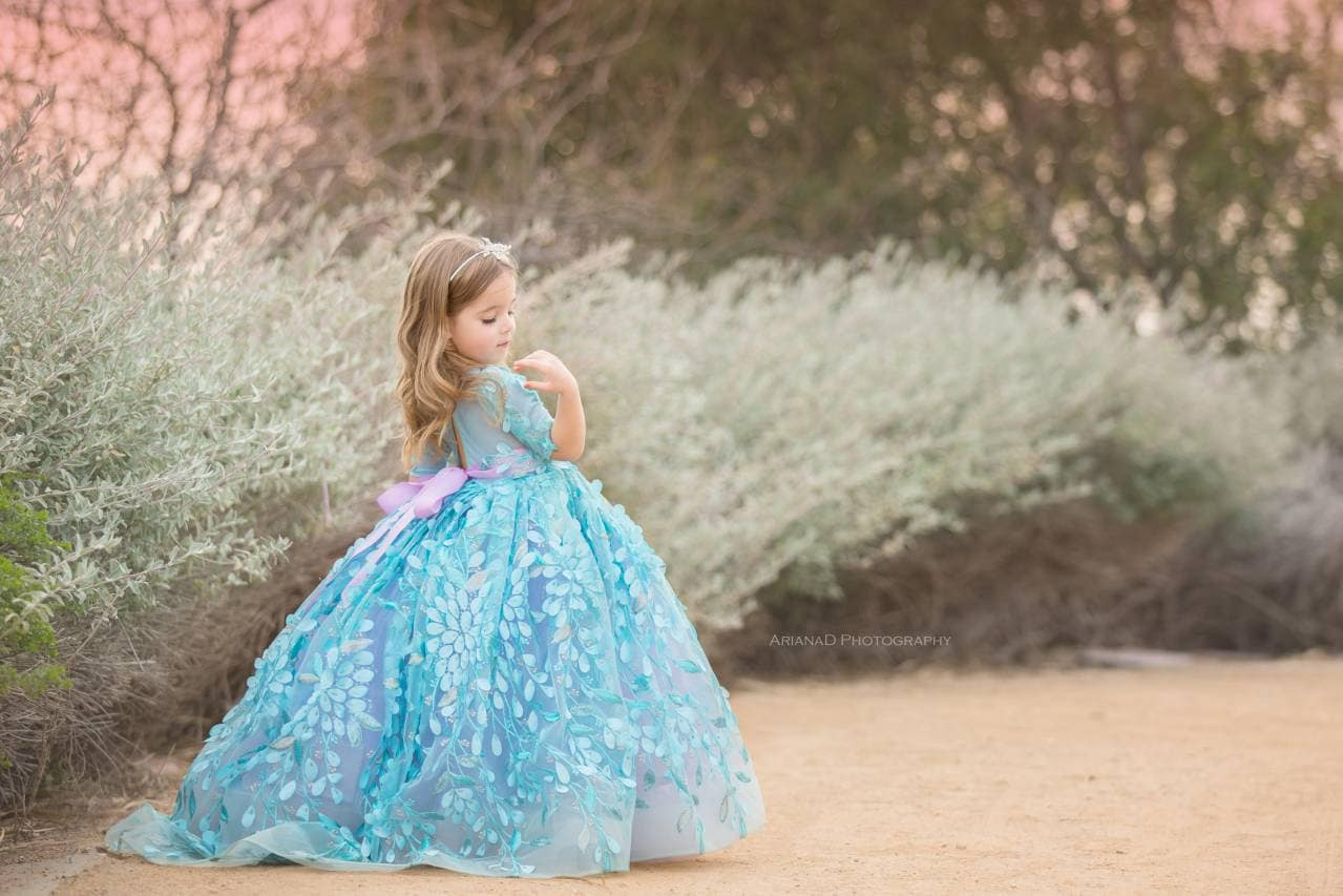 Flower girl dress aqua blue and lavender couture flower girl dress izmirmasajfo