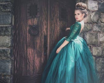 Girls Emerald green gown