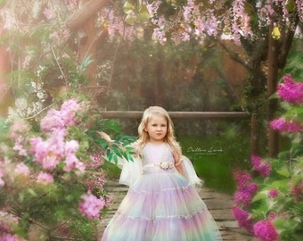 Katie, our pastel rainbow layered tulle princess dress