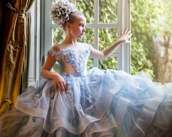 Emily, our couture light blue layered 3d flower dress.
