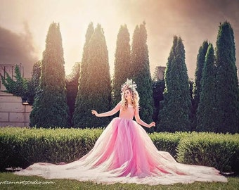 Mauve pink editorial length tulle gown