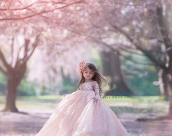Geralyn, our 3D peachy pink floral ball gown design, couture flower girl dress