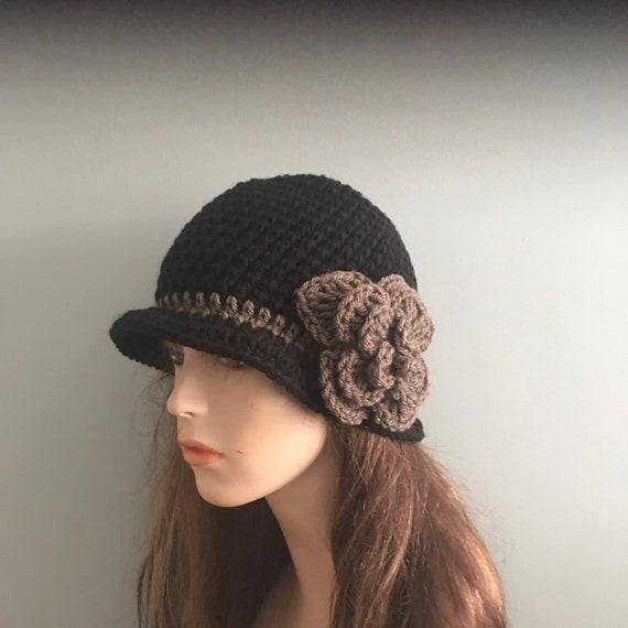 SALE Crochet 20/'s style Cloche  Hat CLARETBROWN