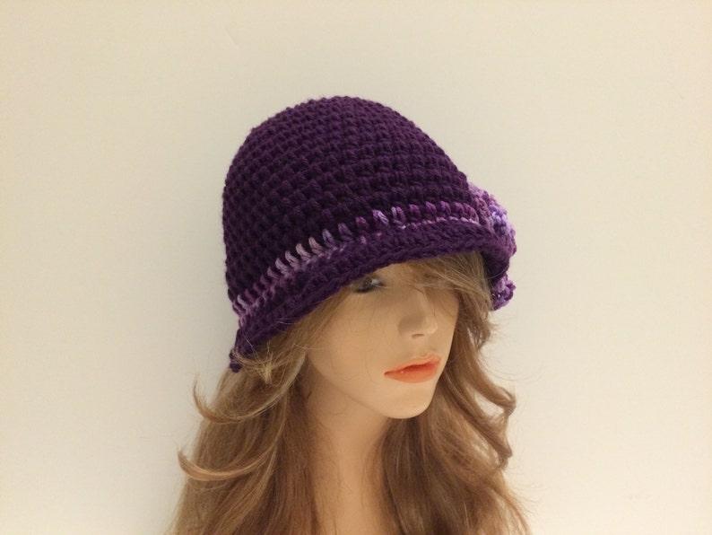 VIOLETMULTIPURPLE SALE Crochet Cloche Flapper Hat