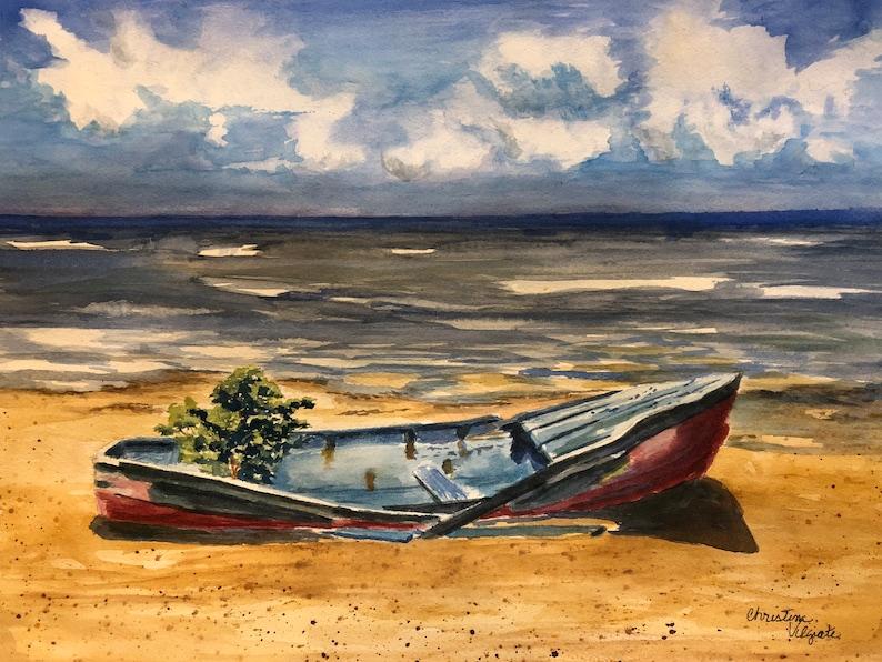 8b3a13f48 11x14 Original Watercolor Belize Ocean Landscape Seaside Beach | Etsy