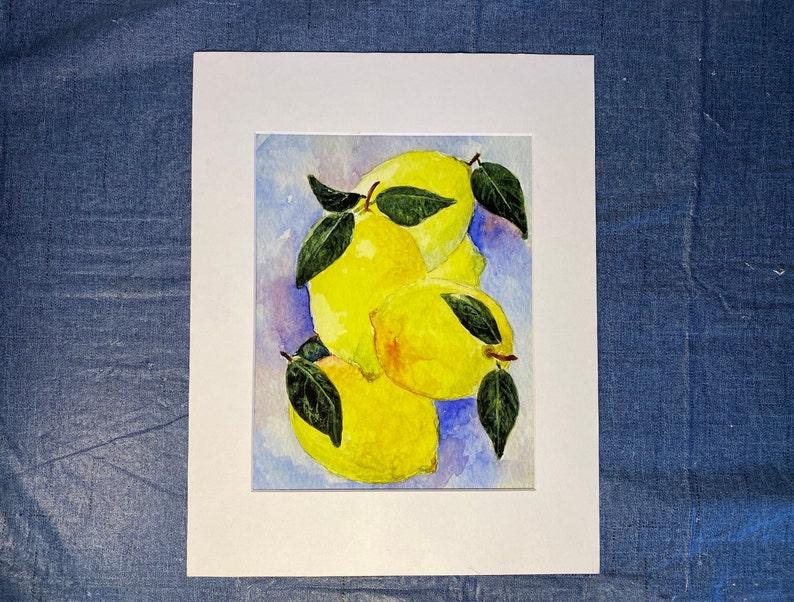 Lemon Watercolor print Kitchen and dining Wall Art Print Botanical Fruit Wall D\u00e9cor