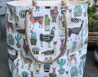 The Weekender Lovely Llama Jute Rope Handle Utility Tote Carryall Project Travel Vacation Beach Getaway Market Bag
