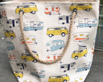 The Weekender Vintage Camper Trailer VW Vanagon Utility Tote Carryall Project Travel Vacation Beach Getaway Market Bag