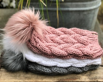 Braided Cable Beanie & Faux Fur Pom Pom Fitted Acrylic  Victorian Rose Heather Grey White
