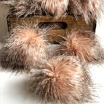 Bellini Peachy Pink Spiked Faux Fur Pom Poms