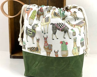 drawstring bag COLORFUL LLAMAS Knitting Project Bag-Toad Hollow bag Crochet Project bag perfect gift for him or her,gift for knitter