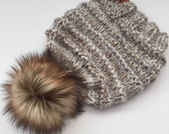 e95c177a744 Hand Knit Kaister Beanie Wool Blend Bulky Yarn Toasted Marshmallow Faux Fur Pom  Pom Winter Snow Cold Ski Snowboard Hiking Camping Hat