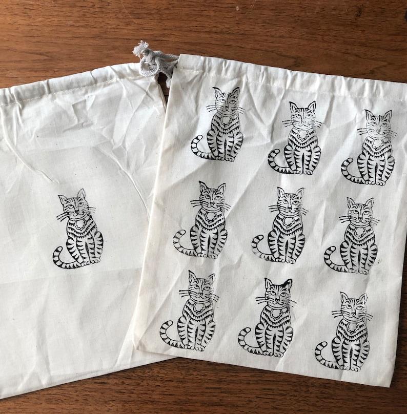 Cat Block Print 100% Organic Cotton Double Drawstring Muslin image 0