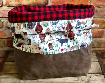 Wilderness Camping on Waxed Canvas Buffalo Plaid Flannel Knit Crochet Project Bag