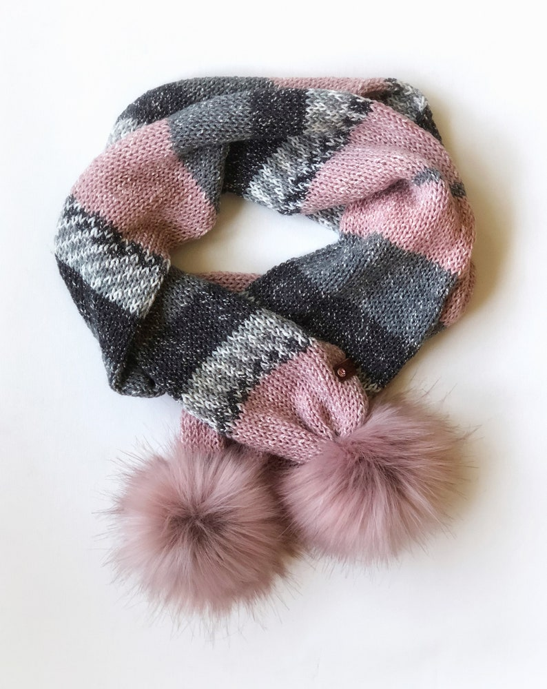 Double Knit Long Scarf with Muse Snap on Poms Pink and Grey image 0