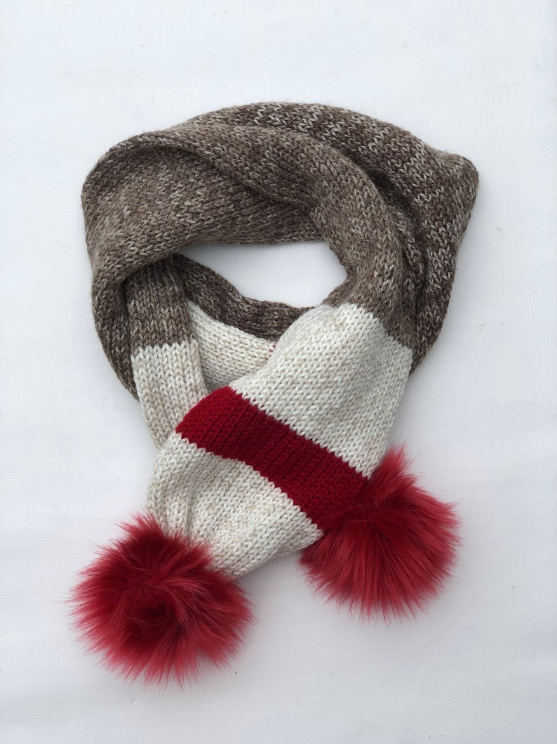 Sock Monkey Themed Double Knit Brown Heather Cream Red Wool or Acrylic