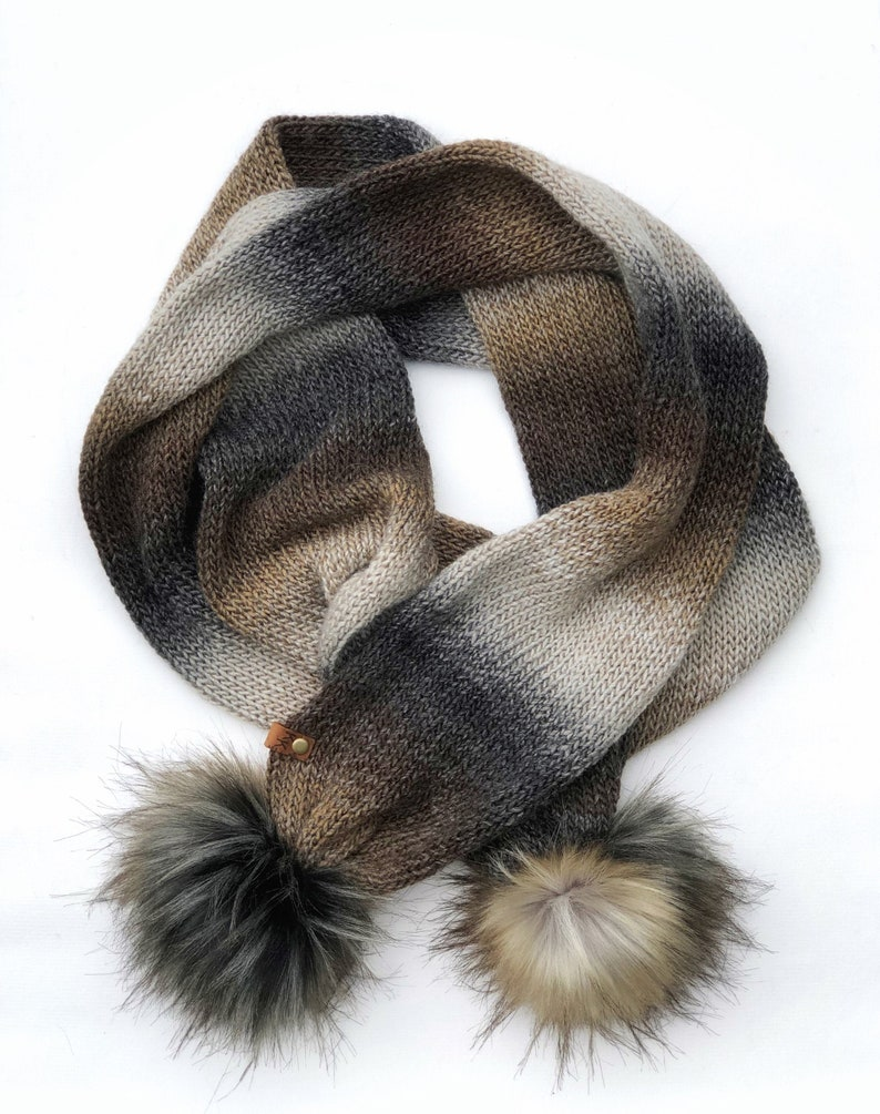 Double Knit Brown Neutral Tones Acrylic Yarn Extra Long Scarf image 0