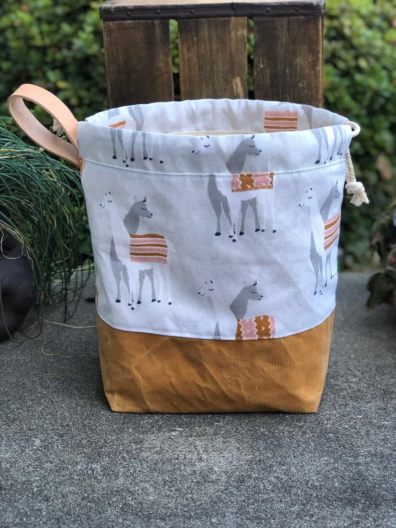 Llama Love Corduroy Waxed Canvas Knit Crochet Project Bag image 0