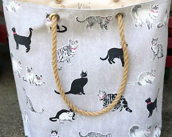 The Weekender Crazy Cat Lady Starter Bag Canvas Utility Tote Jute Handles Carryall Project Travel Vacation Beach Getaway Market Bag