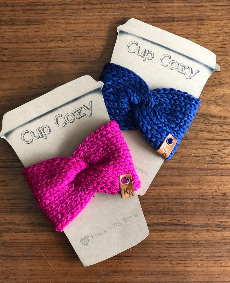 Knit Twist Wrap Coffee Cup Cozy To Go Cup Sleeve Reusable on image 0