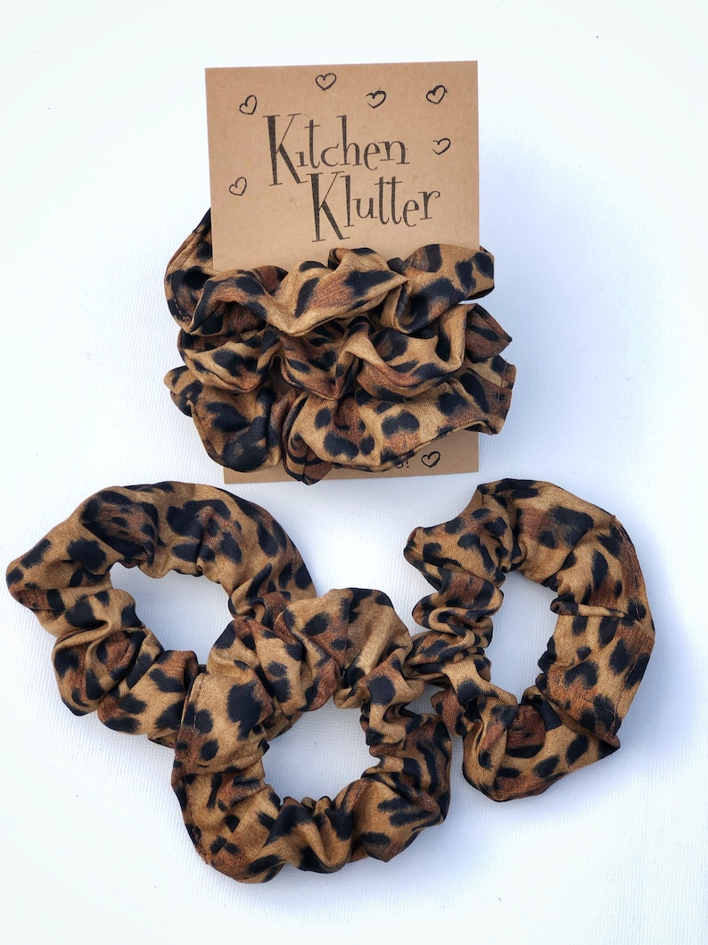 Leopard Print Hair Scrunchies 3 Pack 100% Cotton Fabric image 0