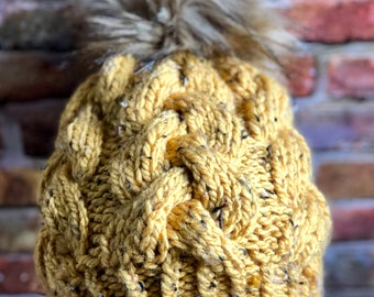 Hand Knit Braided Cable Beanie Fitted Honey Charisma Tweed Coyote Faux Fur Pom Handmade Skiing Snowboarding Sledding Snowboarding