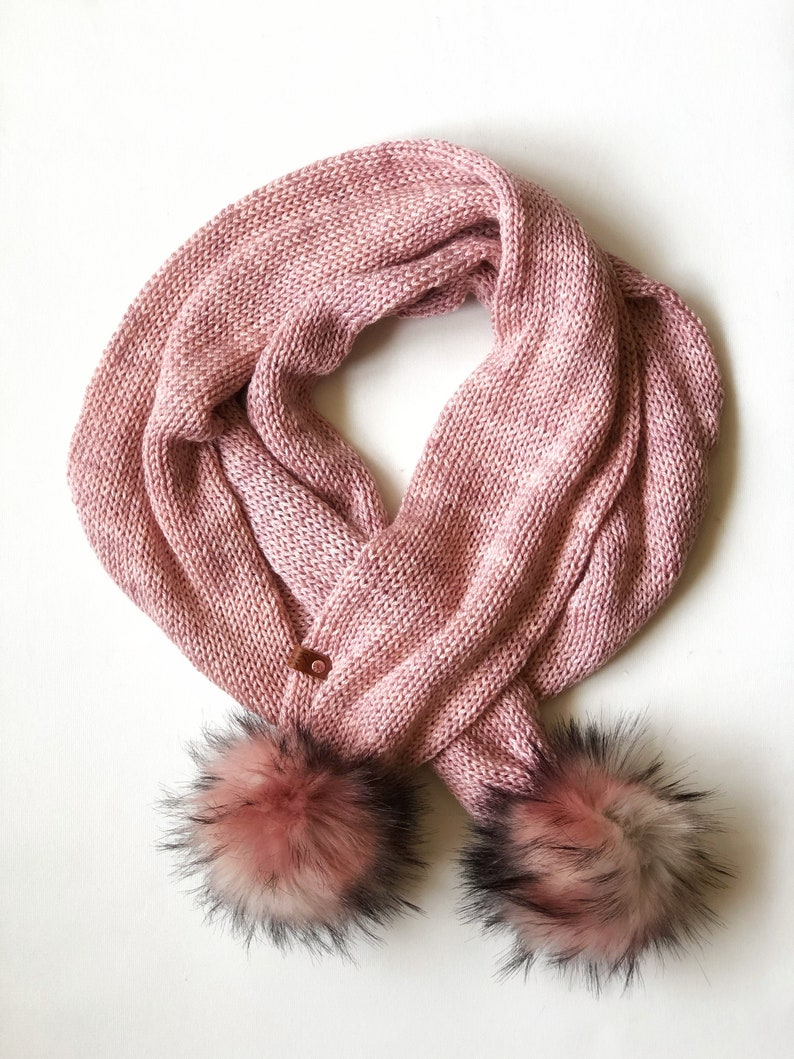 Double Knit Long Scarf Blush Pink with Cosmo Snap on Poms image 0