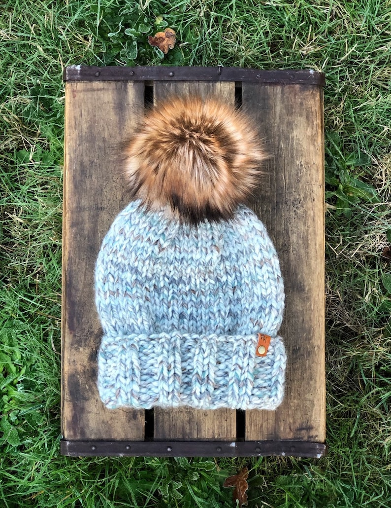 Ed's Hat Beanie Seaglass Toasted Marshmallow Faux Fur Pom image 0