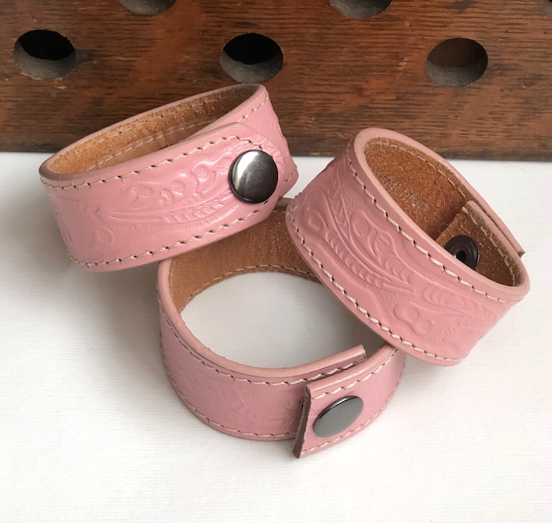 Pink Nocona Bonded Leather Belt Scarf Shawl Cowl Cuff Bracelet image 0