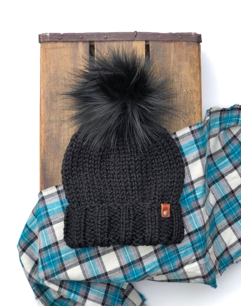 Ed's Hat Adult Folded Brim Beanie Black Wool Blend Onyx image 0