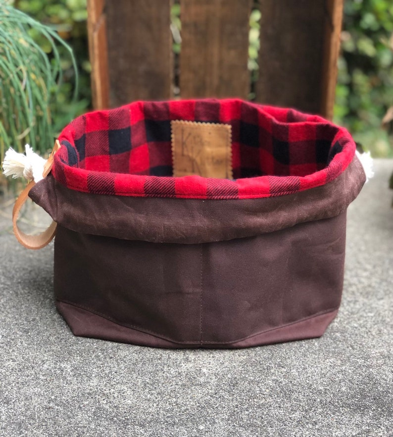 Bittersweet Brown Waxed Canvas and Buffalo Plaid Flannel Lined image 0