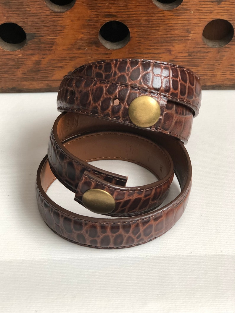 Ralph Lauren Animal Print Leather Brown Double Wrap Belt Scarf image 0