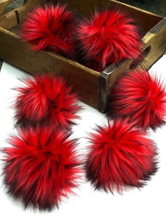Red and Black Faux Fur Pom Fake Fur Pom