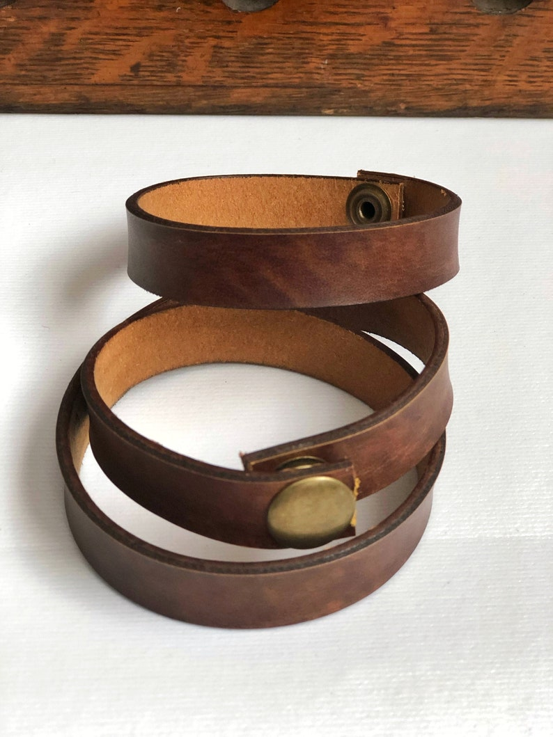 Brown Bonded Leather Single or Double Wrap Belt Scarf Shawl image 0