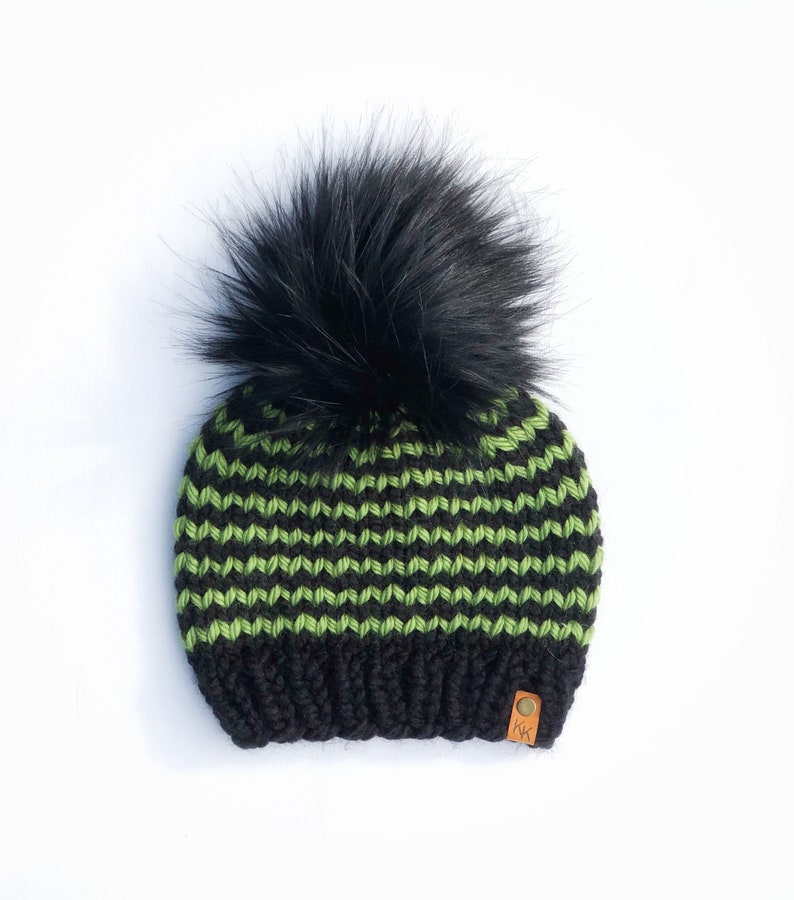 Halloween Themed Black and Green Striped Hand Knit Beanie Wool image 0