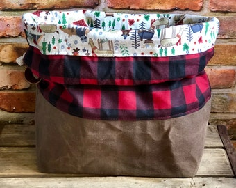 Buffalo Plaid Wilderness Camping Waxed Canvas Knit Crochet Project Bag