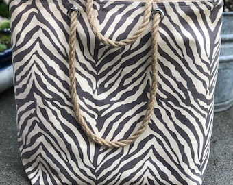 The Weekender Zebra Animal Print Grey Utility Tote Carryall Project Travel Vacation Beach Getaway Market Bag