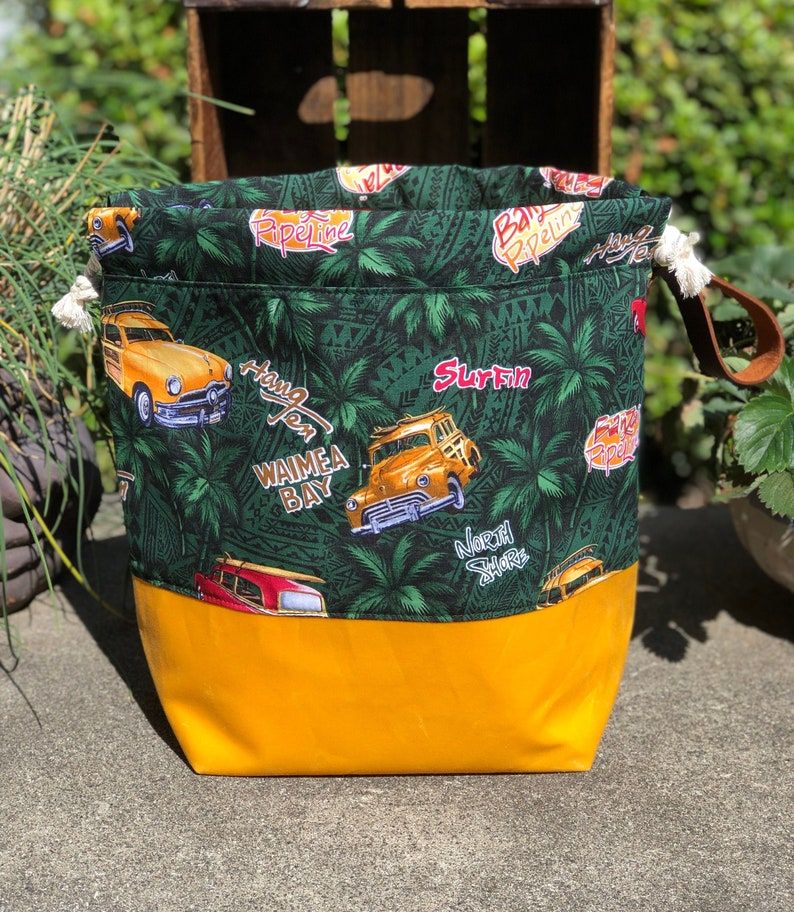 Vintage Woodie Wagon Waxed Canvas and Cotton Utility Fabric image 0