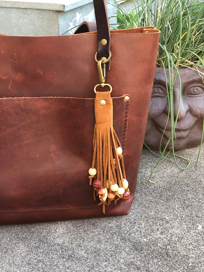 Suede Hand Cut Fringe Wood Beaded Tassel Purse Bag Charm image 0