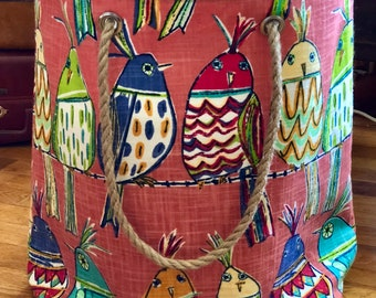 Whimsical Birds on a Wire Weekender Tote Beach Market Bag