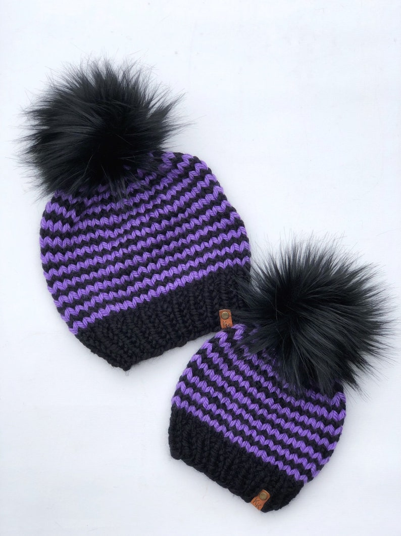 Halloween Themed Black and Purple Striped Hand Knit Beanie image 0