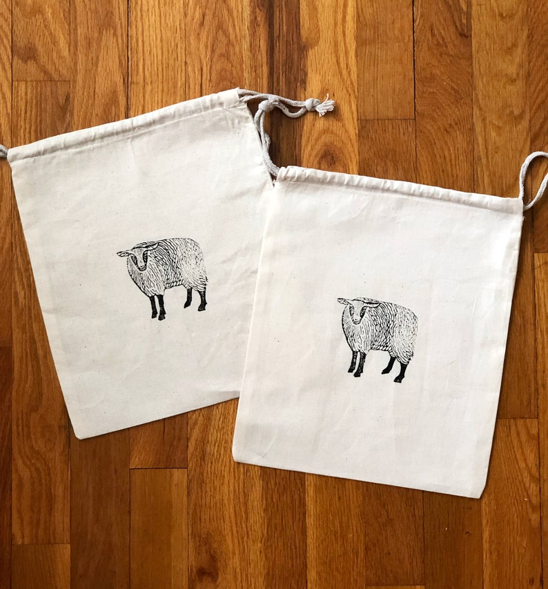 Sheep Block Print 100% Organic Cotton Double Drawstring Muslin image 0